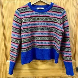 Zara Knit cropped blue multi color sweater crop M